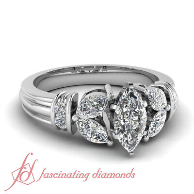 GIA Certified Marquise Cut Platinum Diamond Engagement Ring For Women 1.35 Ct