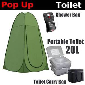 20L Portable Toilet Camping + Shower Tent + 5L shower bag outdoor Wangara Wanneroo Area Preview