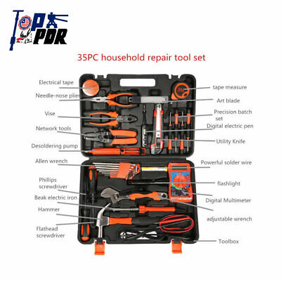 Professional 35pcs Household Home Hand Tool Electric Screwdriver Wrench Bag Kit