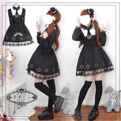 Japanese Sweet Lolita Vintage Punk Hexagram Embroidery Dress Long Sleeve 10 419