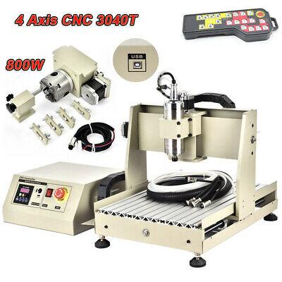 Cnc Router 4 Axis 3040t Engraver Mill 3d Carve Cut Machine 800w Vfd Controller