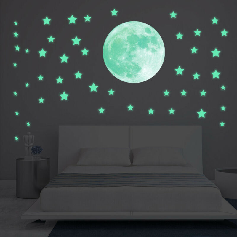 Home Decoration - 39 Pack Glow In The Dark 3D Stars Moon Stickers Bedroom Wall Room Decor DIY T2