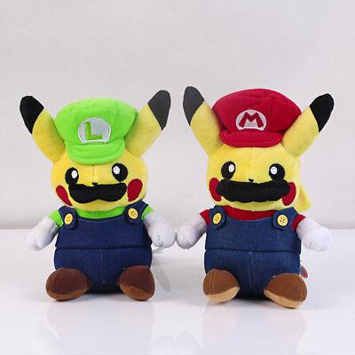 2pcs Pokemon Pikachu Plush Super Mario Luigi Doll Figure Soft Toy 5 inch US Ship
