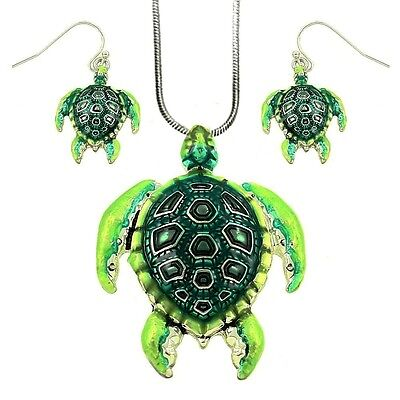 """Green Sea Turtle Pendant Necklace and Earrings Set on 18"""" Chain Fashion Jewelry"""