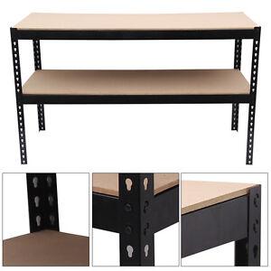 1.5m Black Heavy Duty Steel Work Bench/Station/Shelves for Garage/Warehouse/Shed