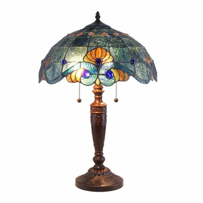 """Tiffany Style Handcrafted Blue Vintage Table Lamp 16"""" Shade Stained Glass"""