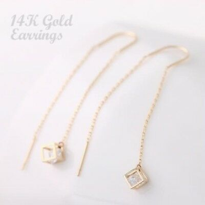 14K Solid Yellow Gold Cube Drop Long Threader Dangle a Pair of Earrings TPD