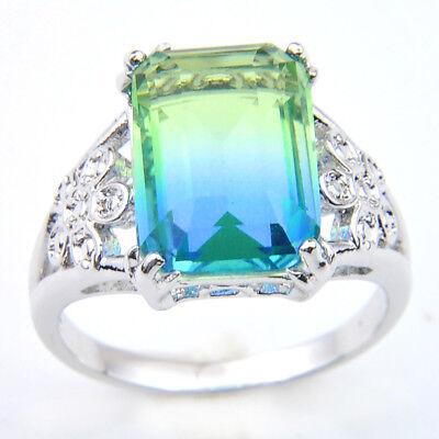 Gemstone Multi Colored Ring (Hanmade Mulit Color Bi-Colored Tourmaline Gemstone Silver Ring Size 7 8)