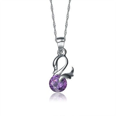 Women White Gold Plated/925 SilverSwan Simulated Amethyst Pendant necklace Fashion Jewelry