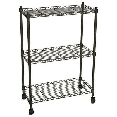 Heavy Duty 3 Tier Wire Shelving Rack Cart Unit Wrolling Shelf Wheels
