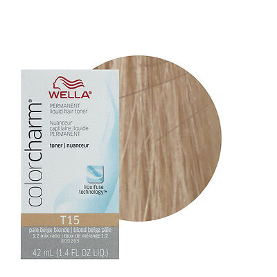 Wella Color Charm Permament Liquid Hair Color Toner 42mL Pale Beige Blonde T15