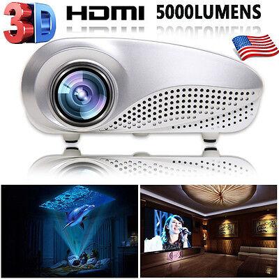 5000Lumens LED HD 1080p Projector Home Multimedia Cinema AV TV VGA USB HDMI SD