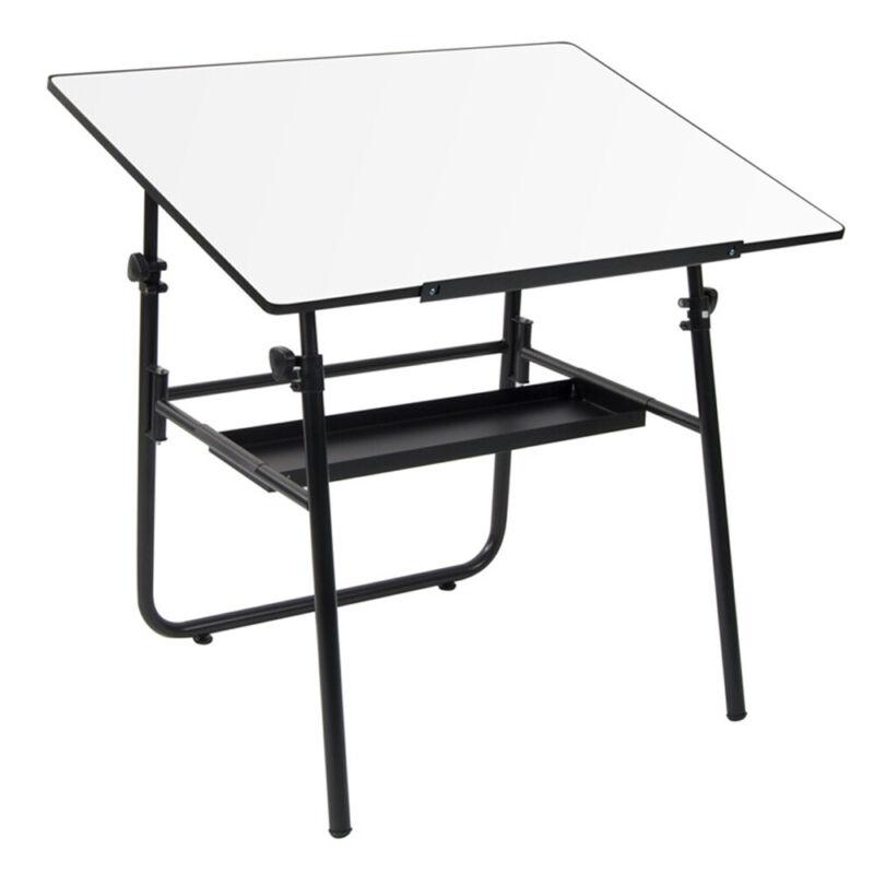 Studio Design Ultima Folding Portable Drafting Table with Storage Shelf, Black