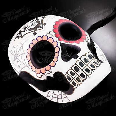 Womens Day of the Dead Skeleton Skull Halloween Masquerade Mask Bat Spider Webs