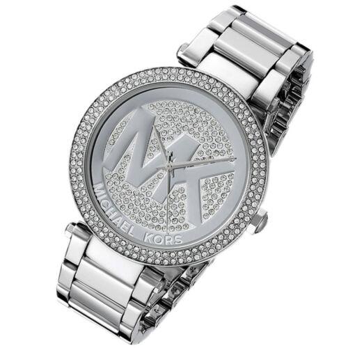 Details about 100% New Michael Kors 39mm Parker Silver Big Logo Glitz Women's Watch MK5925