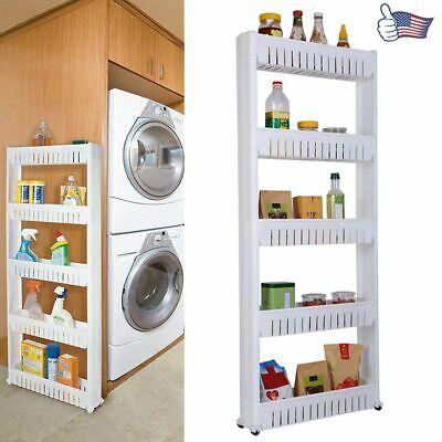 5-Tiers Slim Movable Shelf Storage Cabinet + Wheels Organize Spaces Bathroom