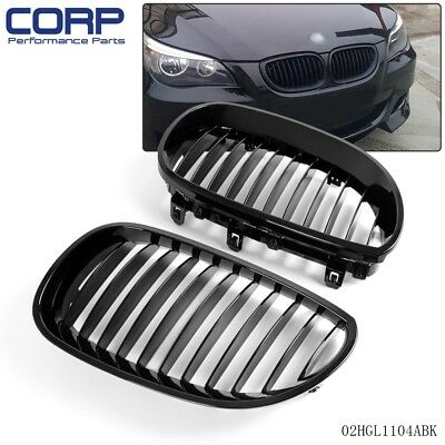 Gloss Black Front Kidney Grille For BMW 5 Series E60 E61 2003-2010 M5 2003-2009