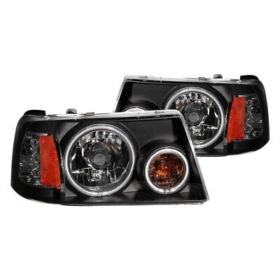 For Ford Ranger 01-11 Anzo 111152 Black CCFL Halo Euro Headlights w Parking (Ccfl Halo Euro Headlights)