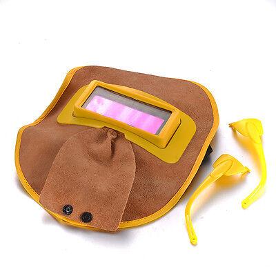 New Portable Leather Welding Solar Auto Darkening Filter Lens Hood Helmet Mask