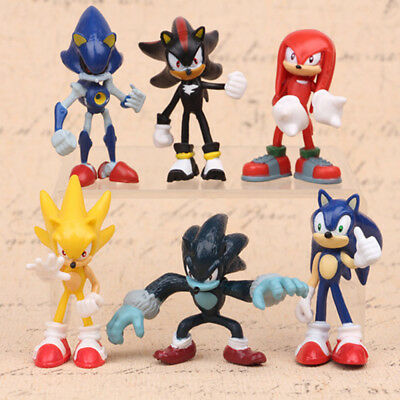 Sonic 6 PCS The Hedgehog Knuckles Shadow Action Figure Cake Topper Doll Gift Toy - Knuckles Sonic The Hedgehog