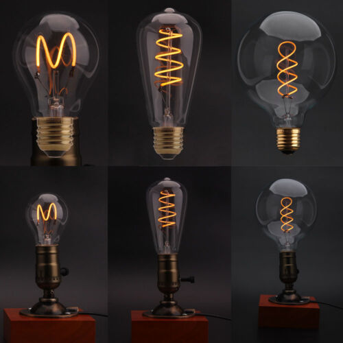 retro vintage edison squirrel cage flexible led filament light bulb dimmable e27 ebay. Black Bedroom Furniture Sets. Home Design Ideas