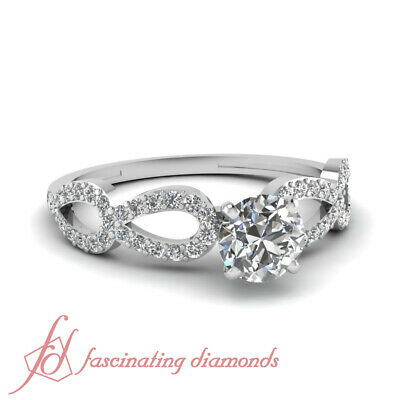 3/4 Carat Round Cut Diamond Engagement Ring Pave Set 14K F-Color GIA Certified