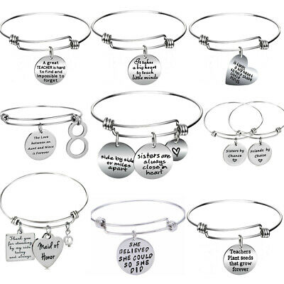 Silver Heart Bangle Bracelet Gifts For Sister Best Friends Teacher