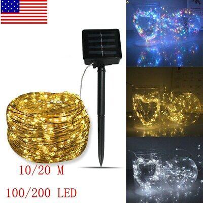 Outdoor Solar String Lights 100 200 LED Copper Wire Fairy Light Garden Decor US Copper Outdoor Solar Light