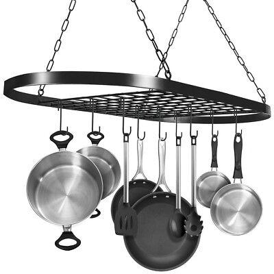 - Hanging Iron Rack Storage Kitchen Organizer Pot Pan Ceiling Holder Shelf + Hooks