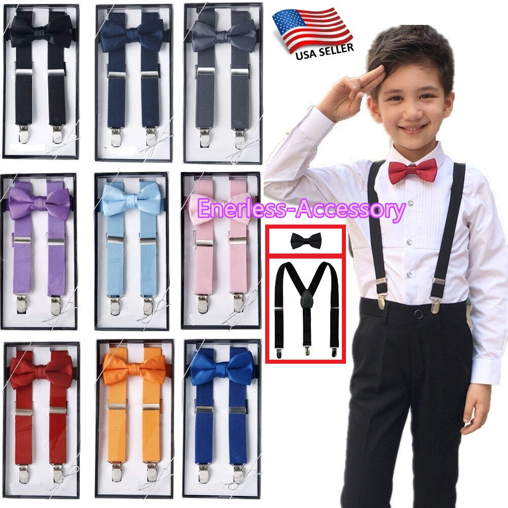 New Suspender and Bow Tie Sets for Boys Girls Kids Child Chi