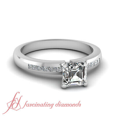 Asscher Cut Natural Diamond Engagement Ring Channel Set GIA Certified 0.65 Ct