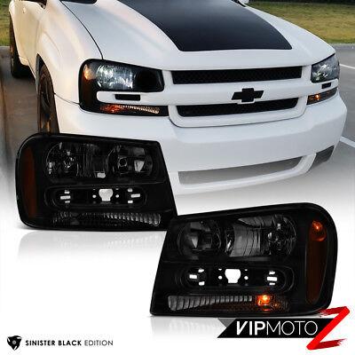 "02-09 Chevy Trailblazer ""DARKEST BLACK SMOKE"" LEFT+RIGHT Headlight Signal Lamp"