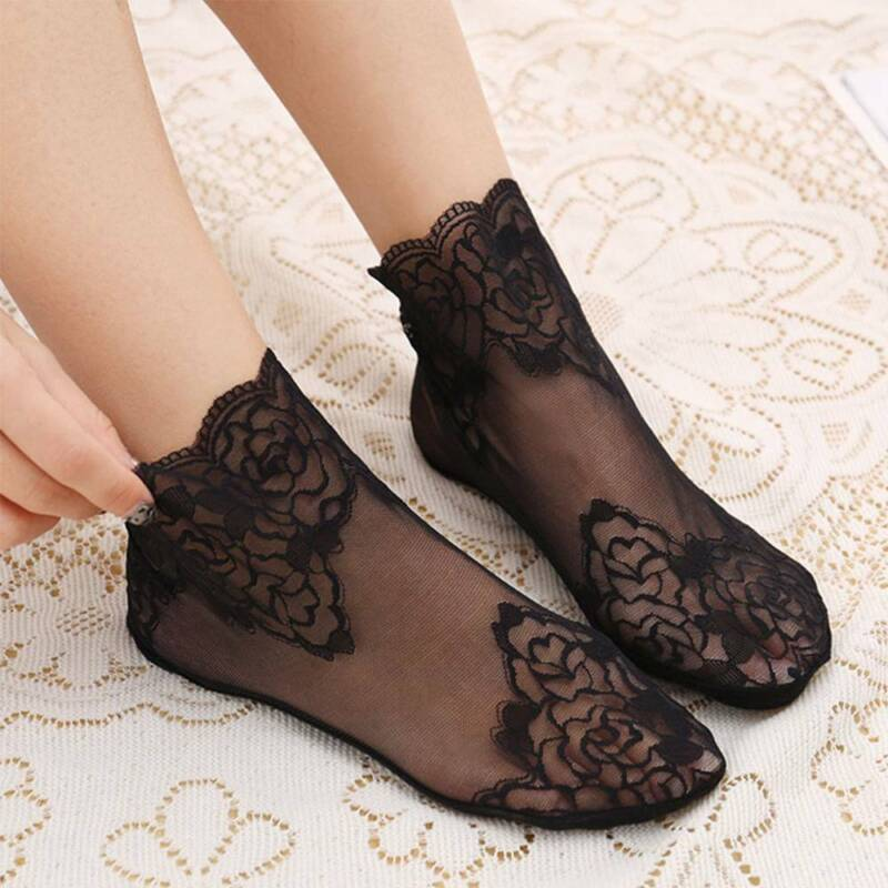Women Thin Hollow Floral Cotton Socks Spring Lace Ankle Sock Short Low Cut Sock