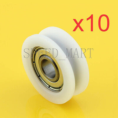10 Pcs U Nylon Plastic Embedded 608 Groove Ball Bearings 83010mm Guide Pulley