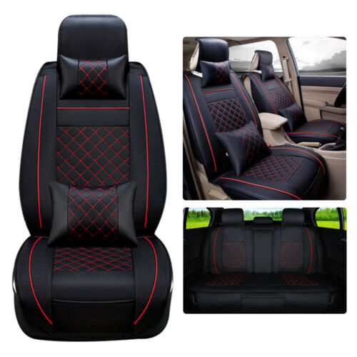 Car Parts - Front Rear Car Seat Covers Set 5-Seat Cushions PU Leather Protector Car Parts US