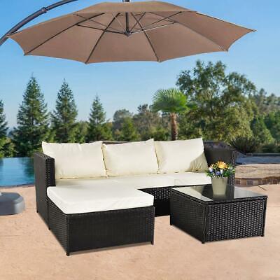Garden Furniture - Rattan Garden Furniture Set Corner Lounge Sofa Table Outdoor Dining Bench Black