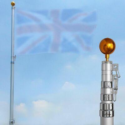 20ft/6.1m Aluminum Telescopic Flag Pole Flagpole Gold Ball Kit Set UK