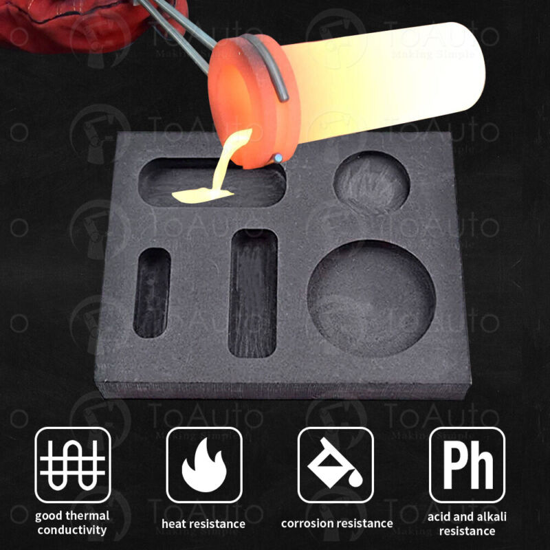 Graphite Crucible Ingot Combo Mold Jewelry Tool for Gold Metal Melting Casting
