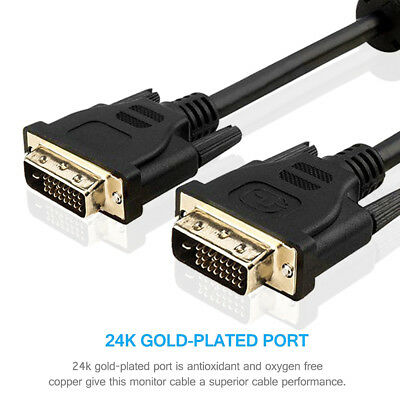Premium DVI-D 24+1pin Male-Male Cable Digital Video Lead With Ferrites GOLD