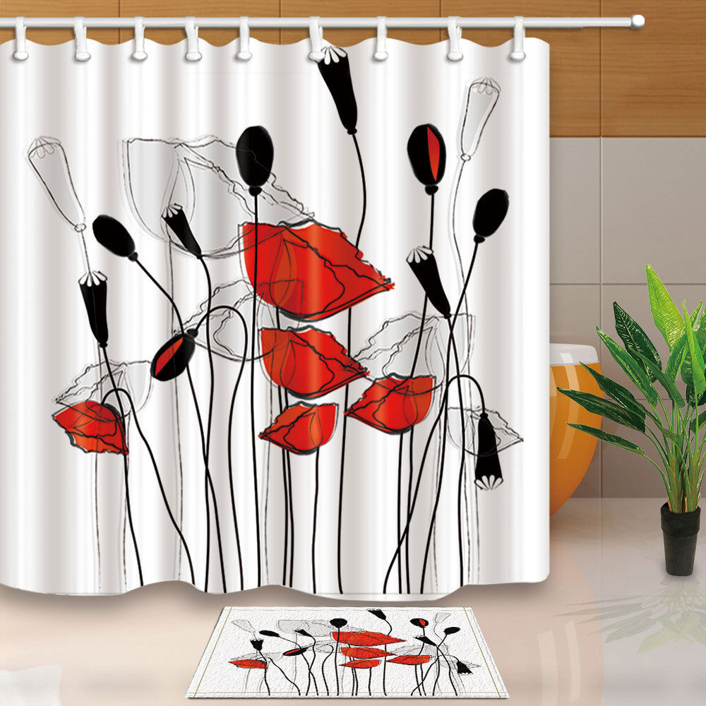 Details About Red Gray Black Flowers Floral Shower Curtain Bathroom Fabric 12hooks 7171inch