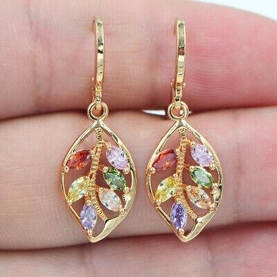 18K Yellow Gold Filled Women Rainbow Topaz Zircon Leaf Earrings Jewelry ()