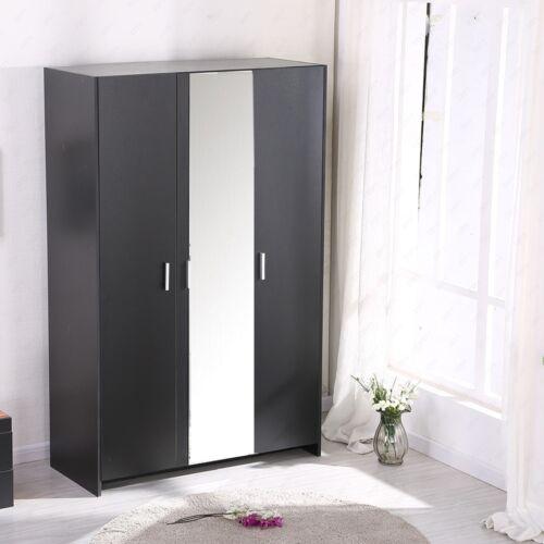 details about modern bedroom furniture black wardrobe 3 door hanging