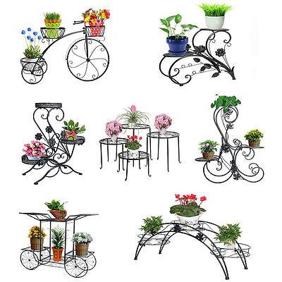 Metal Outdoor Indoor Pot Plant Stand Garden Decor Flower Rack Wrought Iron US (Metal Stand)
