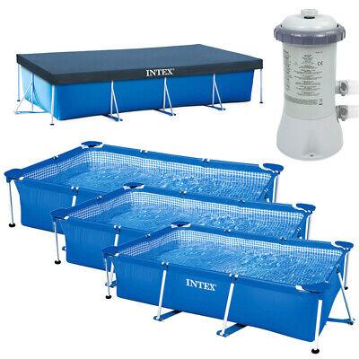 INTEX Schwimmbecken Komplett Set Family Swimming Pool Rechteck Frame + Poolpumpe