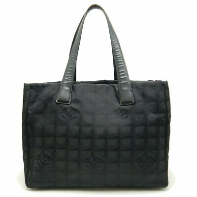 Authentic CHANEL New Travel Line MM Tote A15991 Nylon Black /058153