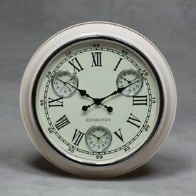 Cream with White Face Edinburgh Multi Dial Wall Clock