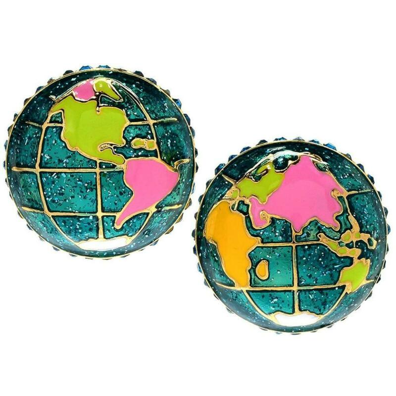 Ritzy Couture Multi Color Enamel Domed Globe Button Clip Earrings (Goldtone)