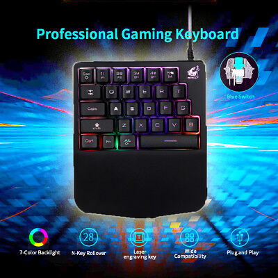 One-Handed Keyboard For PUGB LOL Mobile PC Gaming Left Hand
