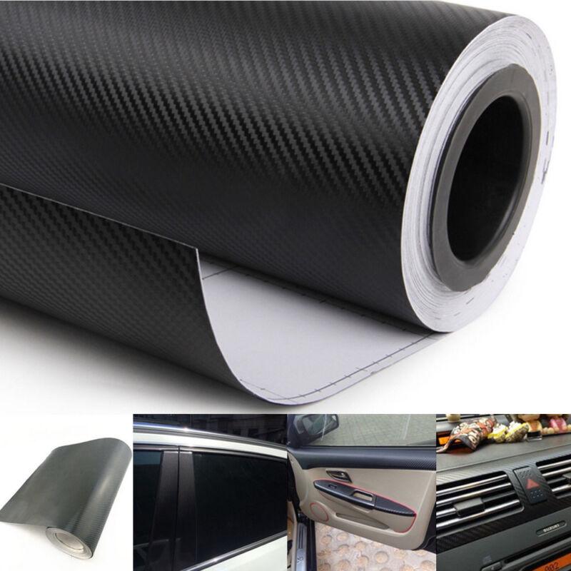 "3D Carbon Fiber Vinyl Car Auto Wrap Sheet Roll Film Sticker Decal DIY 11.8x50/"""