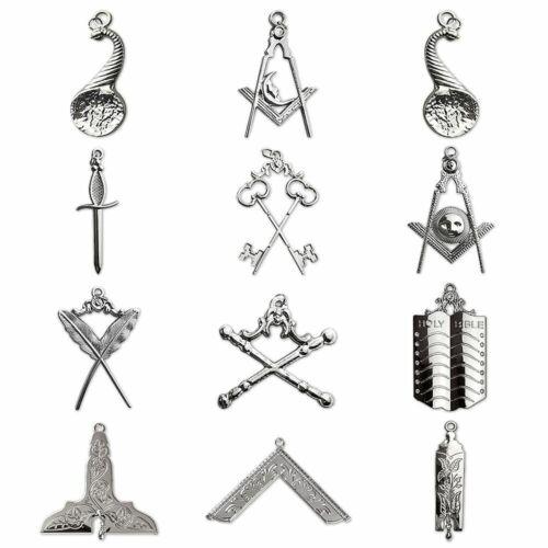 Masonic Blue Lodge Station Collar Pendant Set 12 Pieces